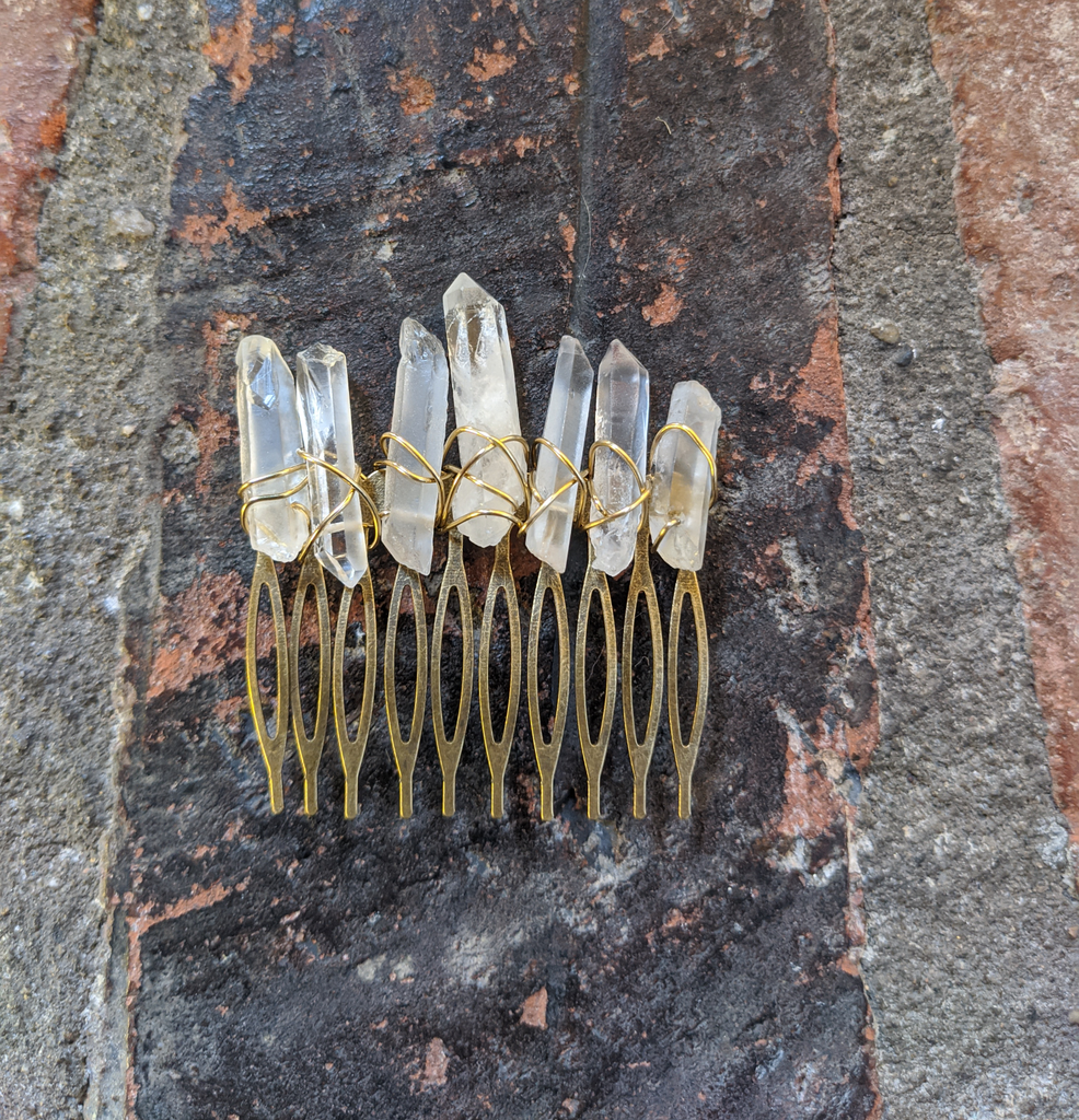 Large Quartz Crystal Hair Comb