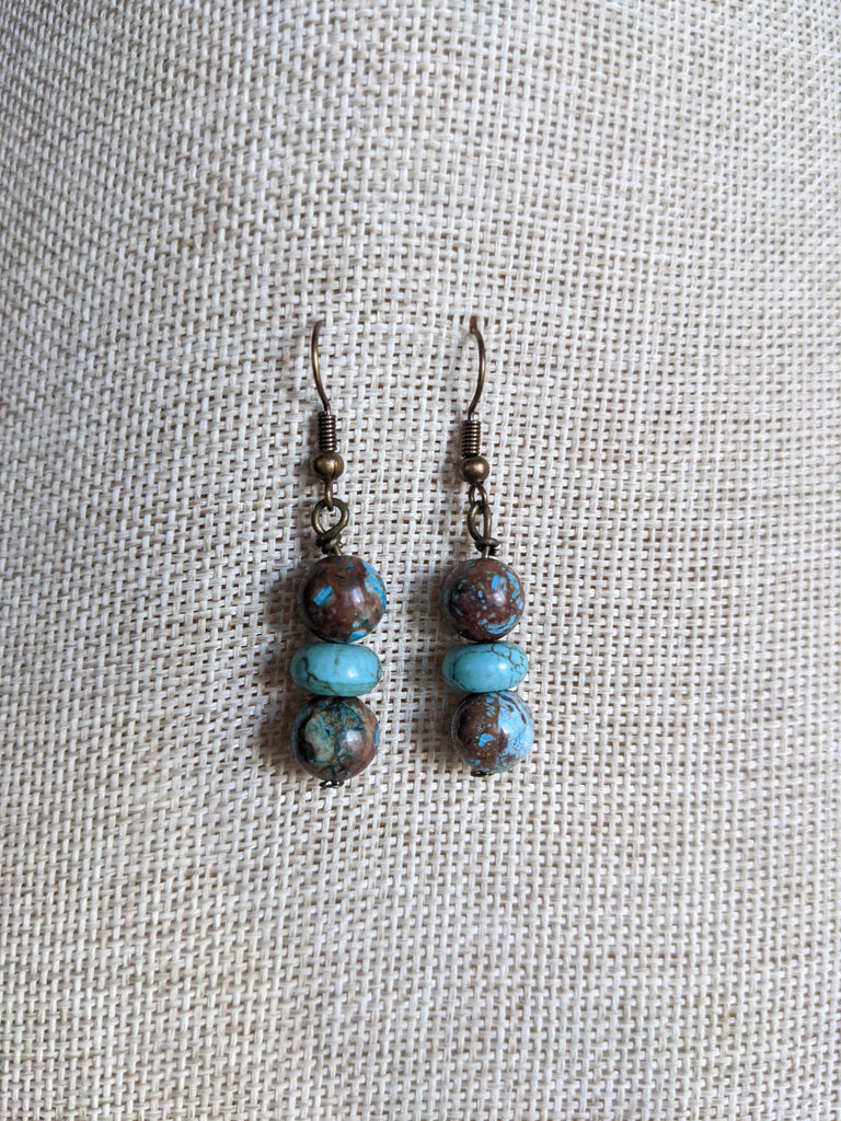 Crazy Blue Lace and Turquoise Earrings