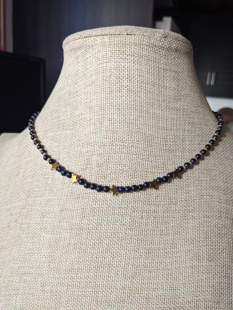 Blue Goldstone and Gold Hematite Star Short Statement Necklace
