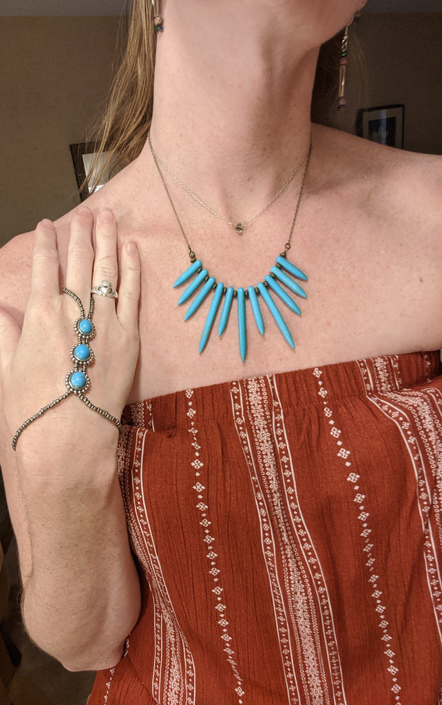Turquoise Spiked Statement Necklace on Brass