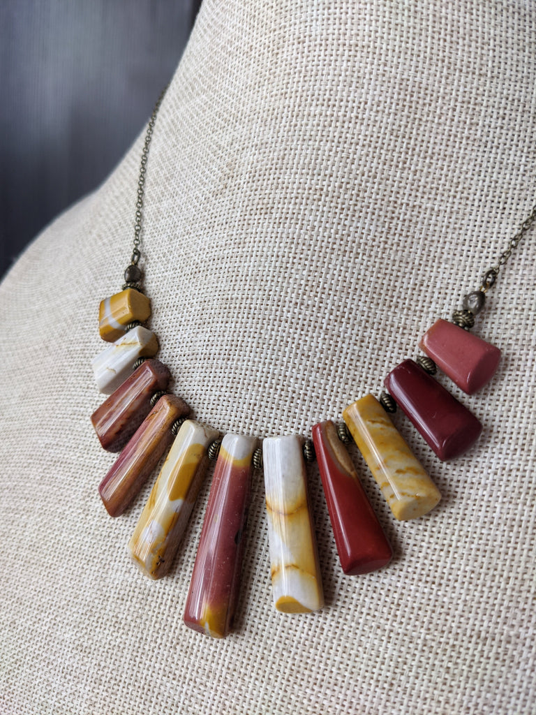 Mookaite Statement Necklace on Brass