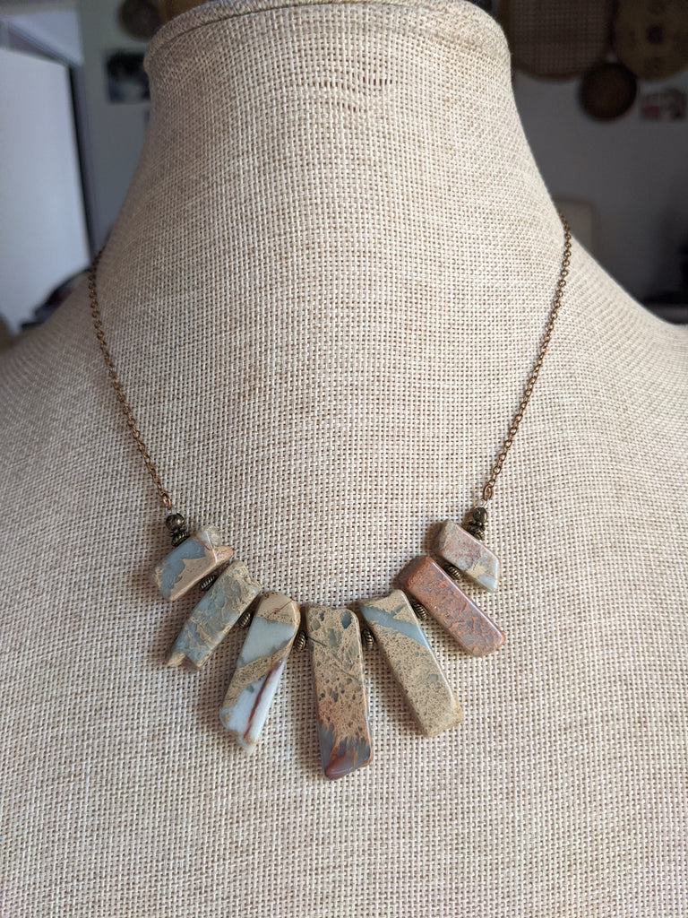 Aqua Terra Jasper Statement Necklace on Brass