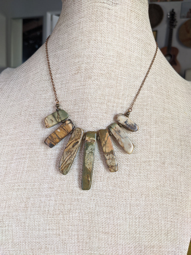 Picasso Jasper (Browns) Statement Necklace on Copper Brass
