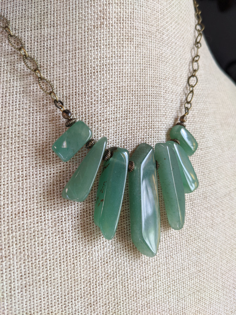 Green Aventurine Statement Necklace on Brass