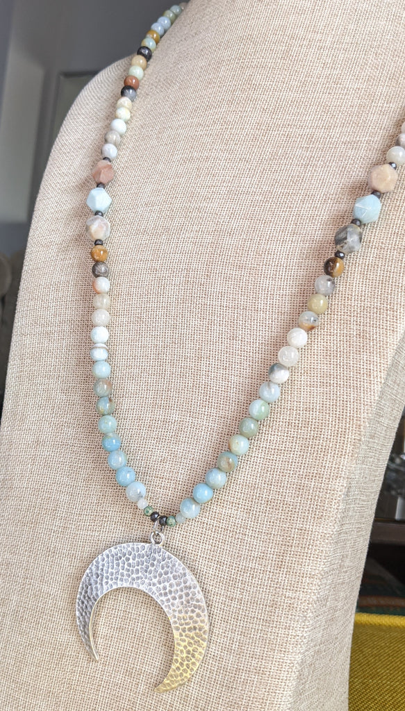 Amazonite and Silver Hammered Crescent Moon Pendant Necklace