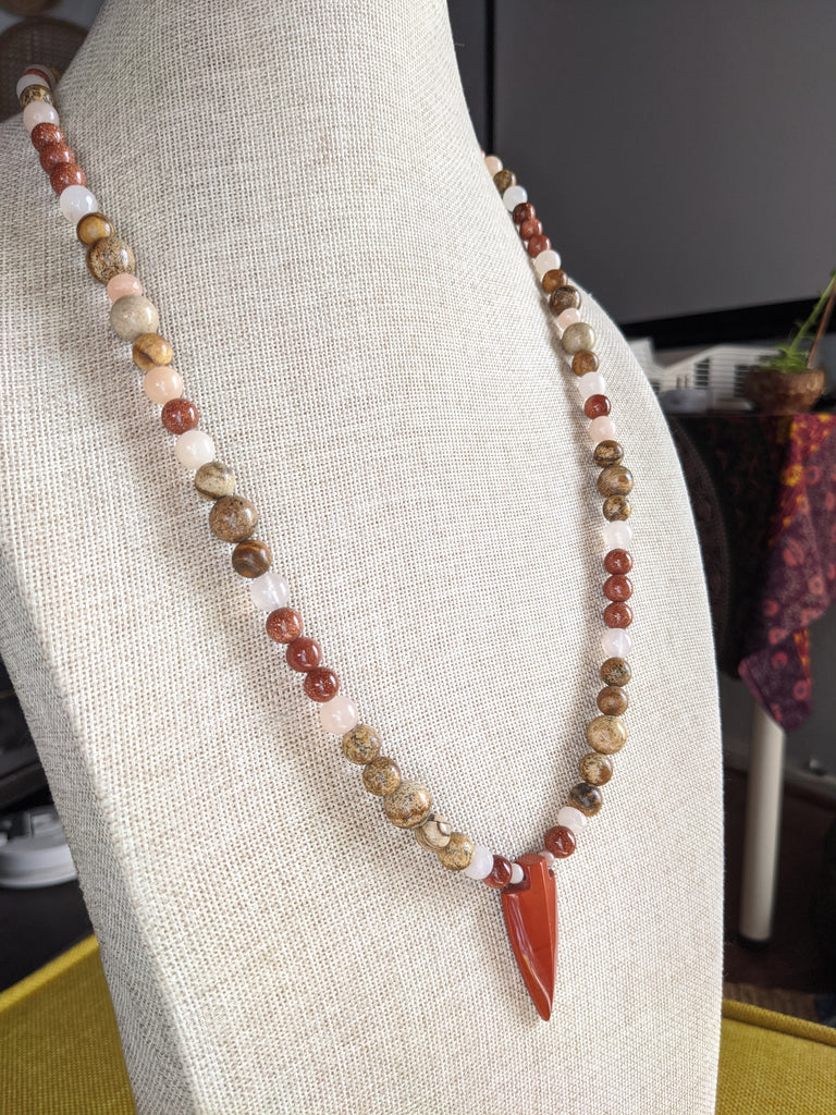Red Jasper, Goldstone, Jasper and Pink Aventurine Arrowhead Necklace