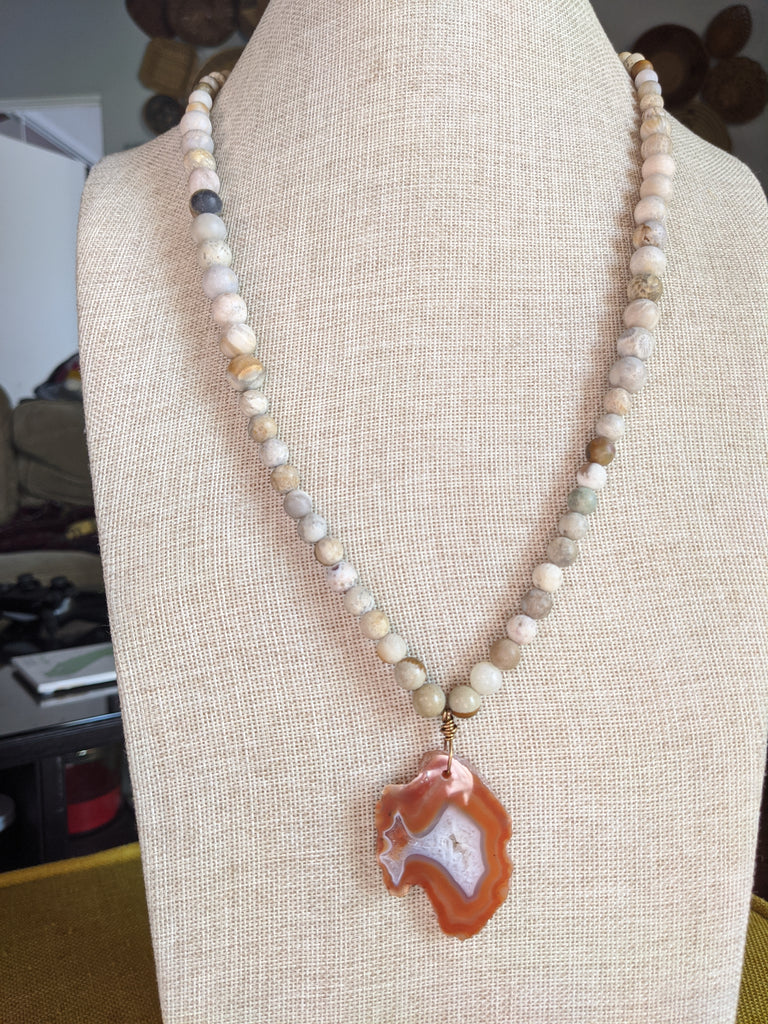 Jasper and Coral Fossil Beads with an Agate/Druzy Pendant