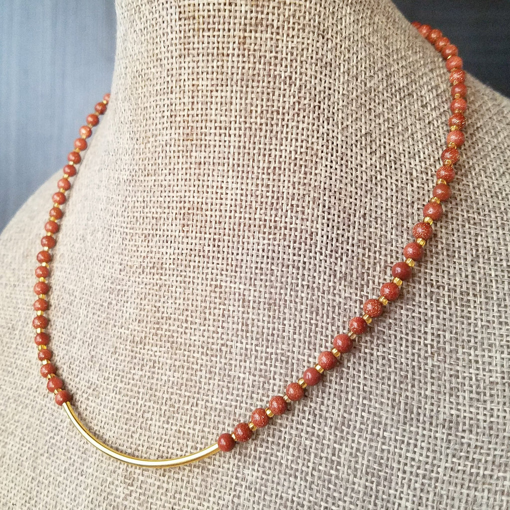 Goldstone and Gold Bar Short Statement Necklace