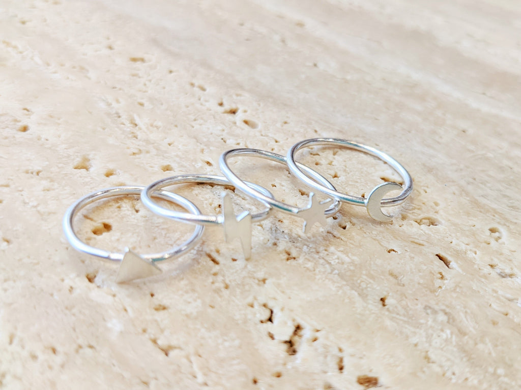 Sterling Silver Crescent Moon Ring