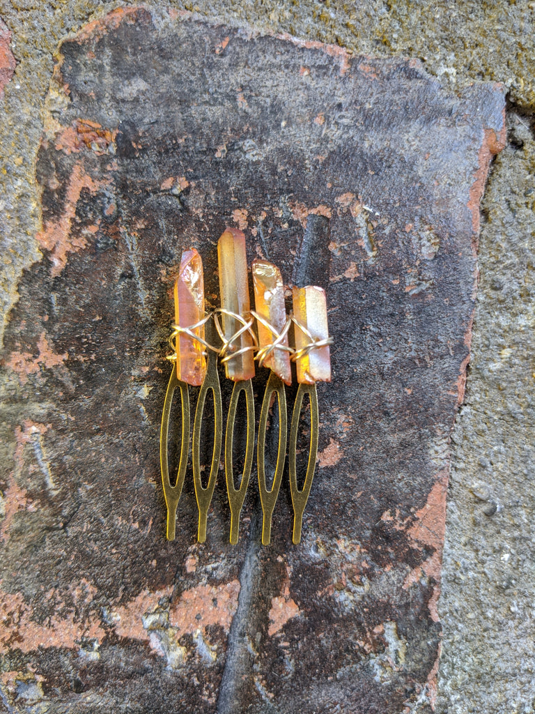 Small Champagne Quartz Crystal Hair Comb (Single and Sets Available)