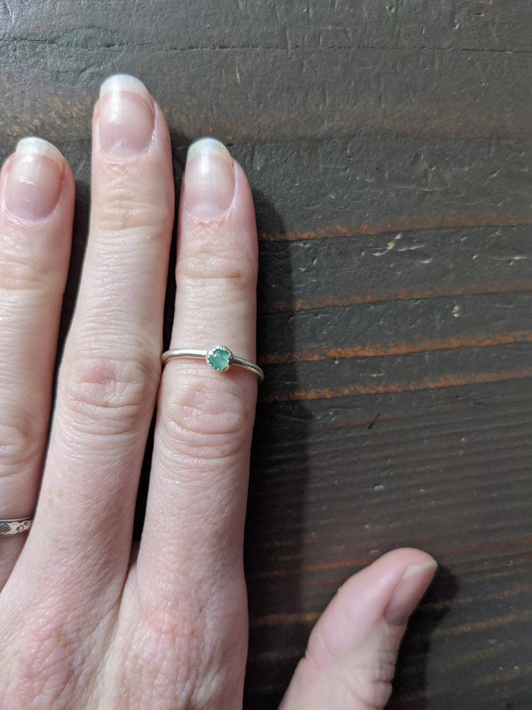 Green Aventurine and Sterling Silver Ring (Various Sizes Available)