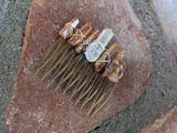 Large Champagne and Clear Quartz Crystal Hair Comb