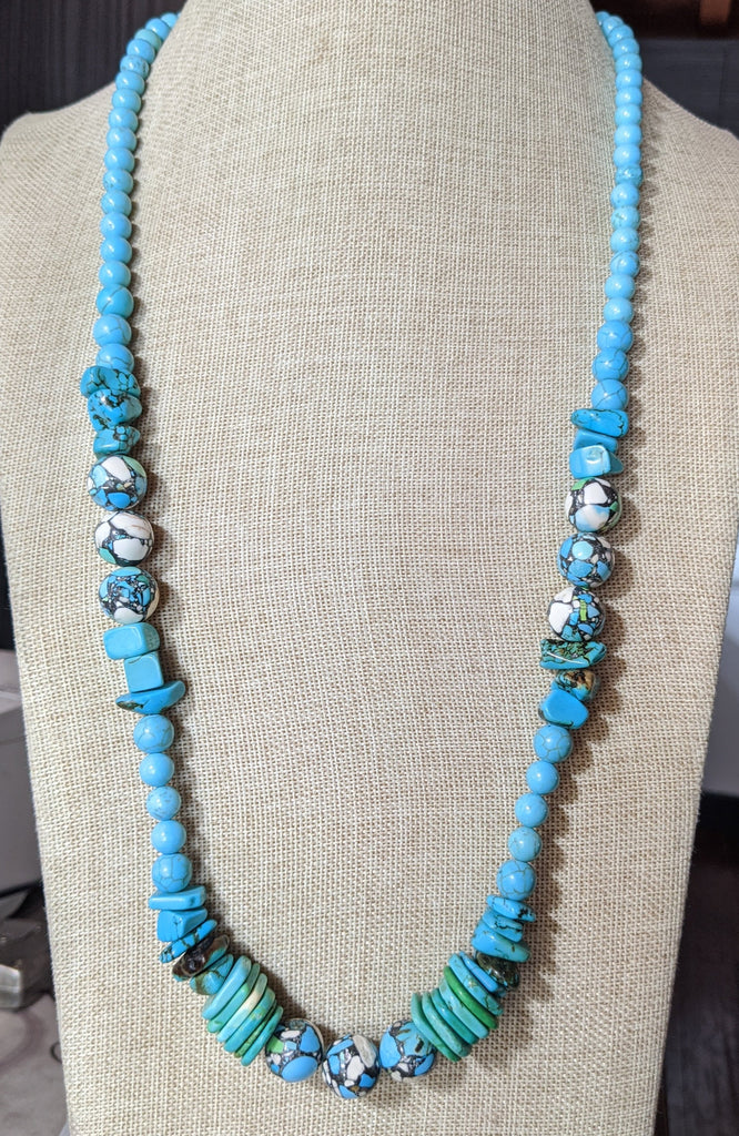 Mosaic Turquoise Howlite Long Statement Necklace