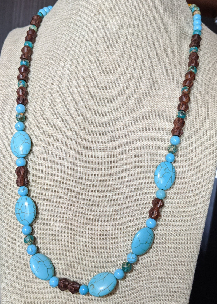 Turquoise Howlite and Wood Long Statement Necklace