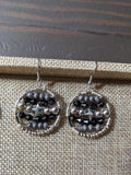 Wire-wrapped Black and Silver Star Statement Earrings