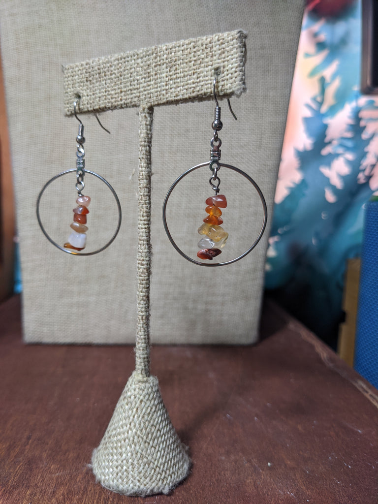 Carnelian Loop Silver Earrings