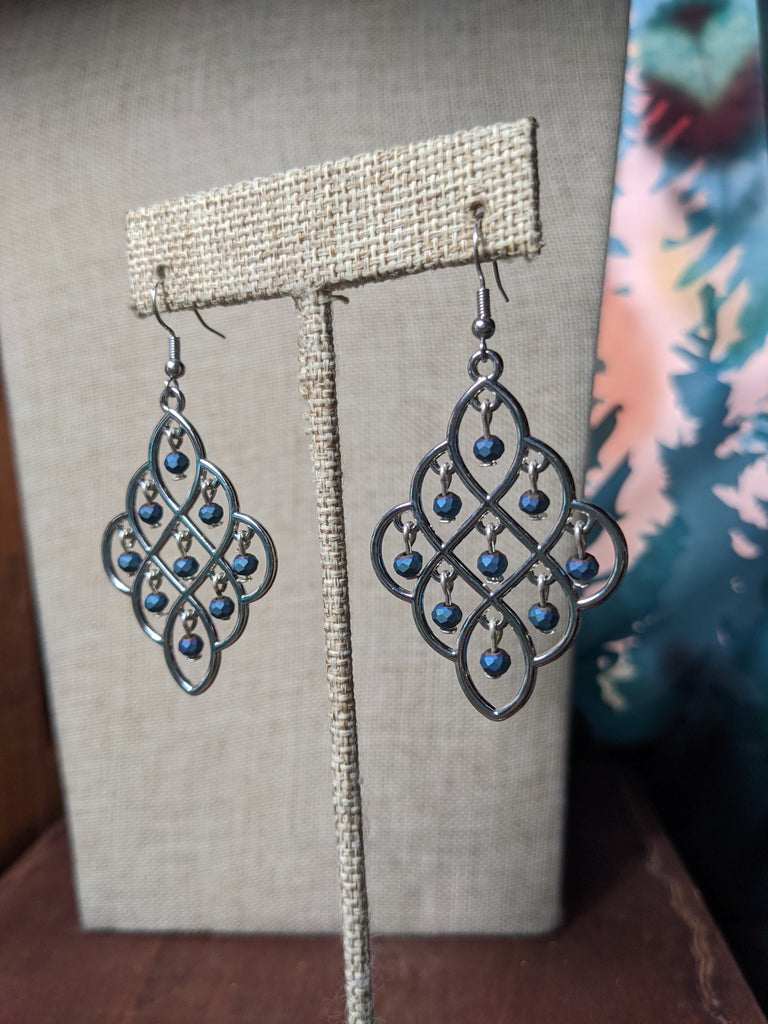 Dark Matte Finish Metallic Blue Chandelier Earrings