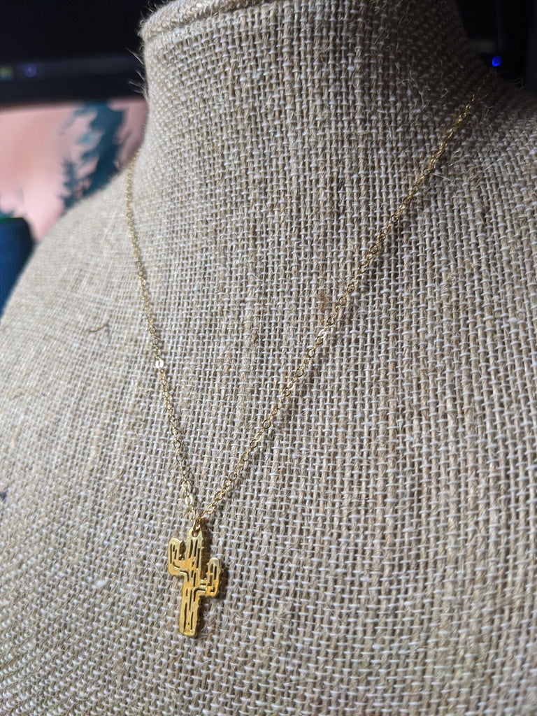 Gold Cactus Charm on 14k Gold Filled Chain