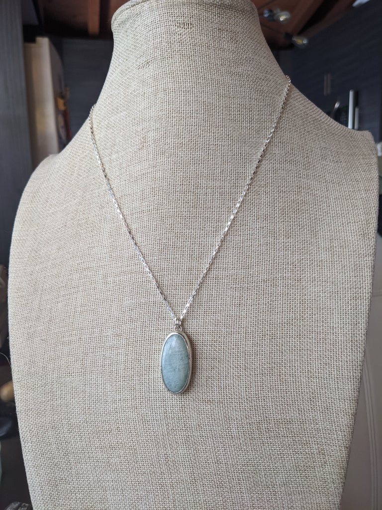 Amazonite Pendant on Sterling Silver Chain
