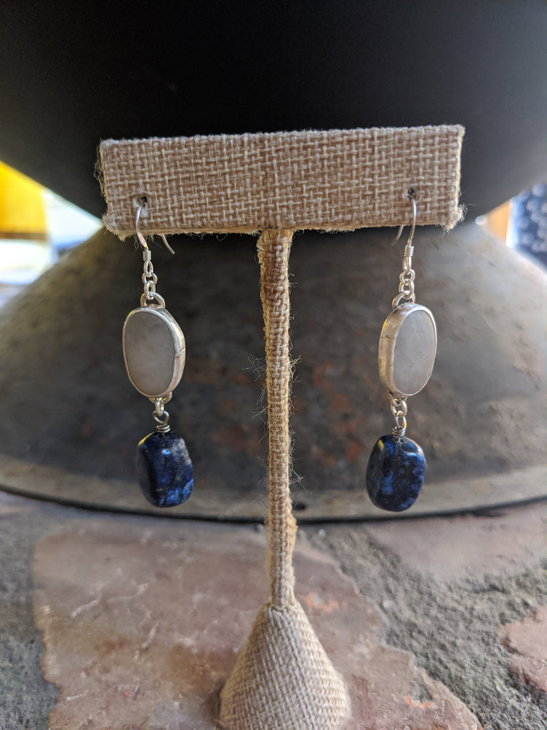 White Beach Stone and Lapis Lazuli Sterling Silver Earrings