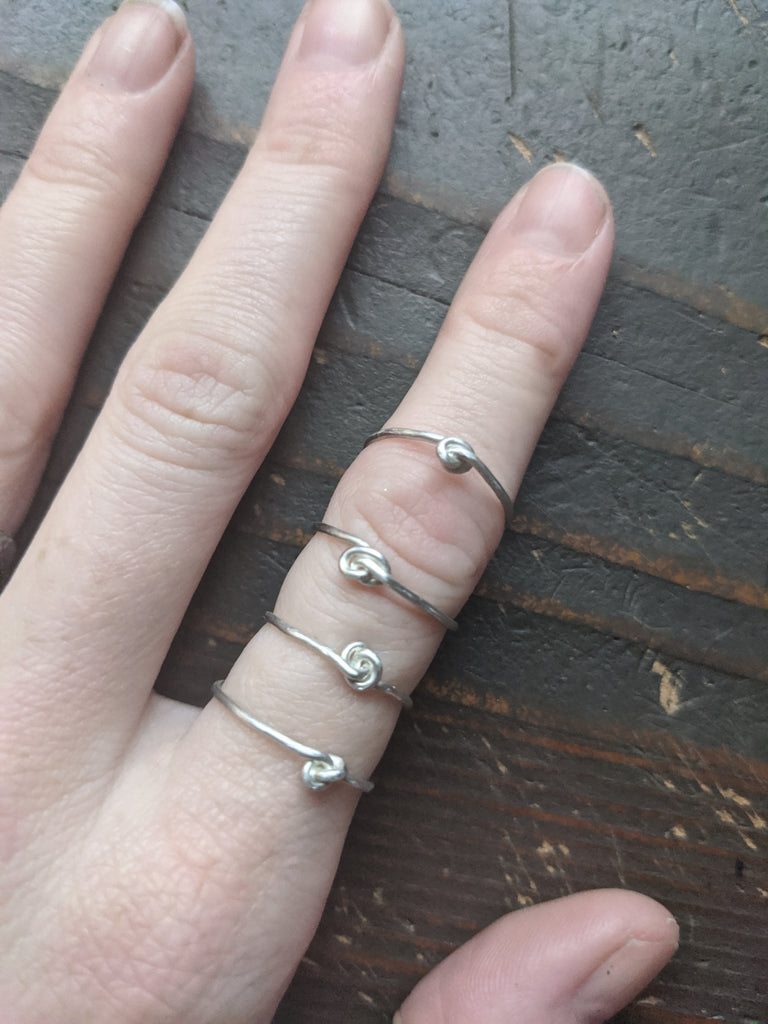 Dainty Knotted Sterling Silver Ring - Various Sizes Available