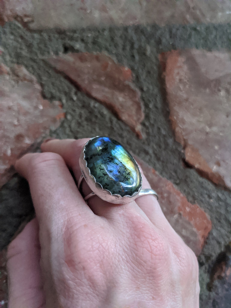High Flash Labradorite Sterling Silver Statement Ring - Size 7