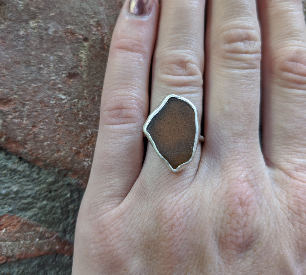 Brown Seaglass Sterling Silver Ring - Size 5.5
