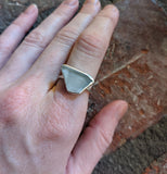 Clear White Seaglass Sterling Silver Ring - Size 6.5