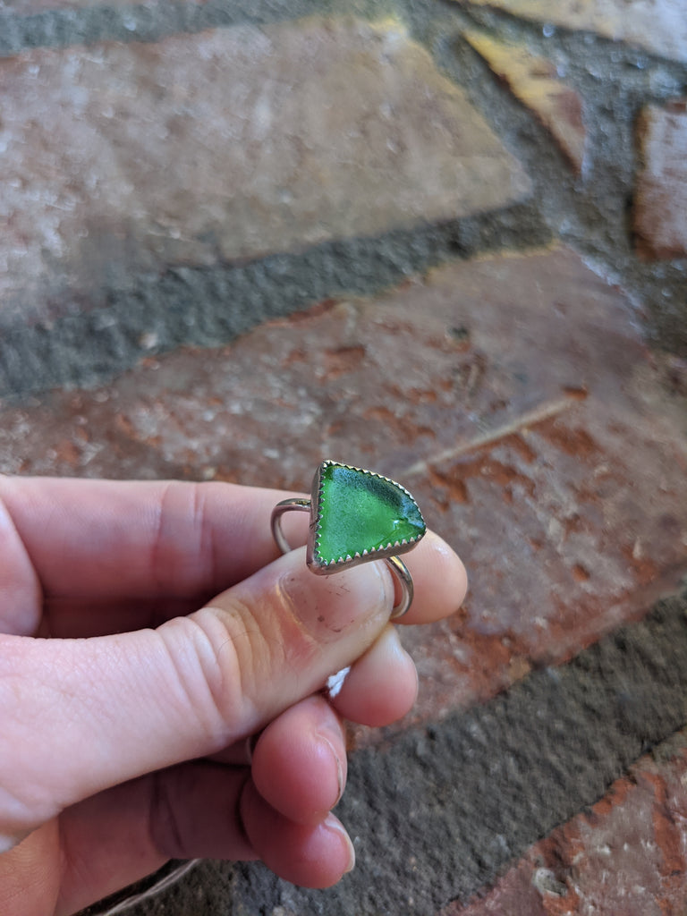 Green Seaglass Sterling Silver Ring - Size 9.75