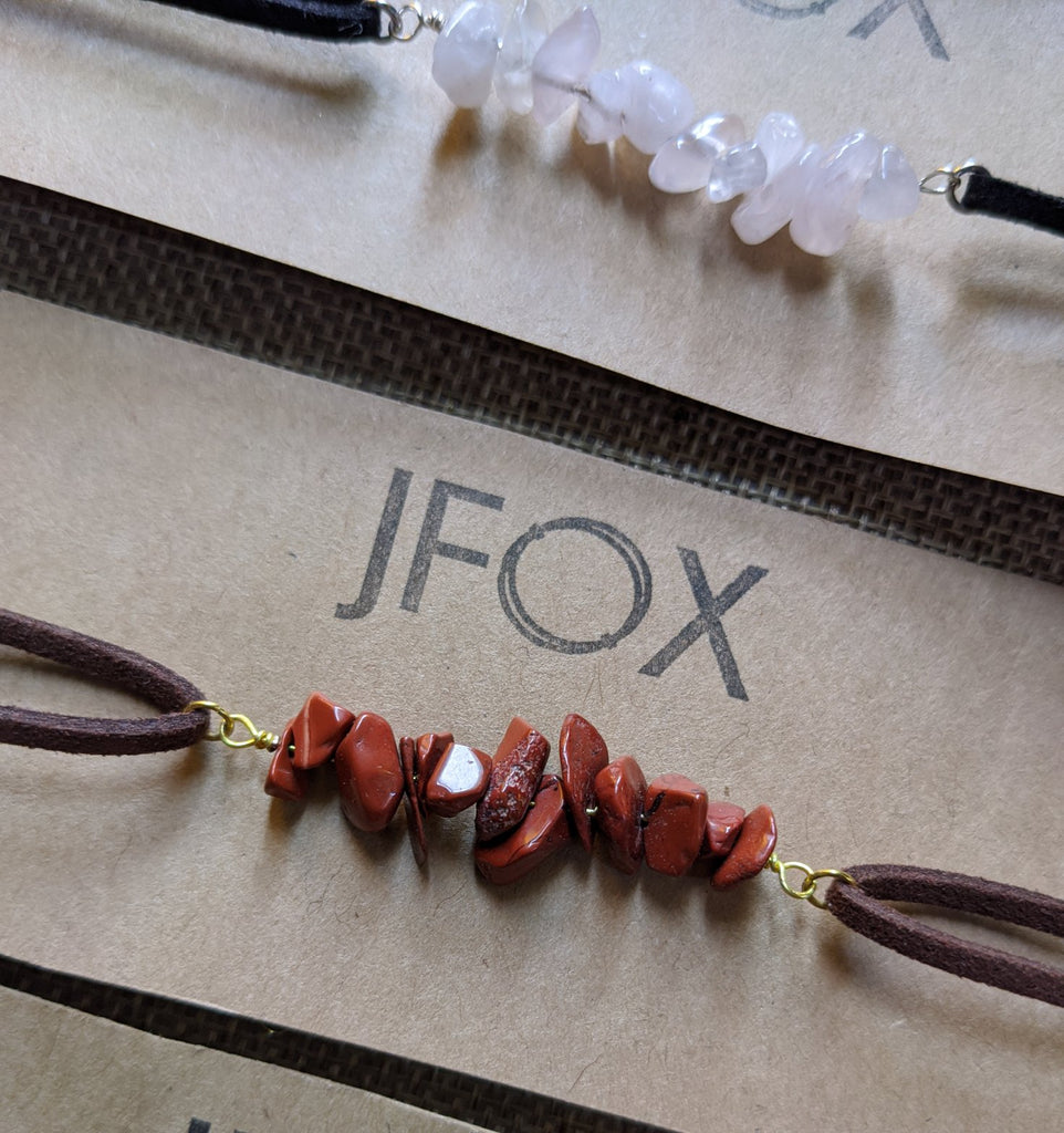 Vegan Leather Choker with Gemstones (Various Colors Available)