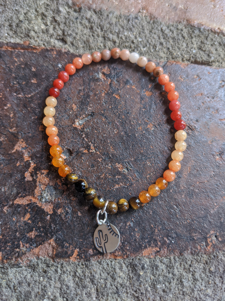4mm Tequila Sunrise Gradient Quartzite Bracelet with Cactus Charm