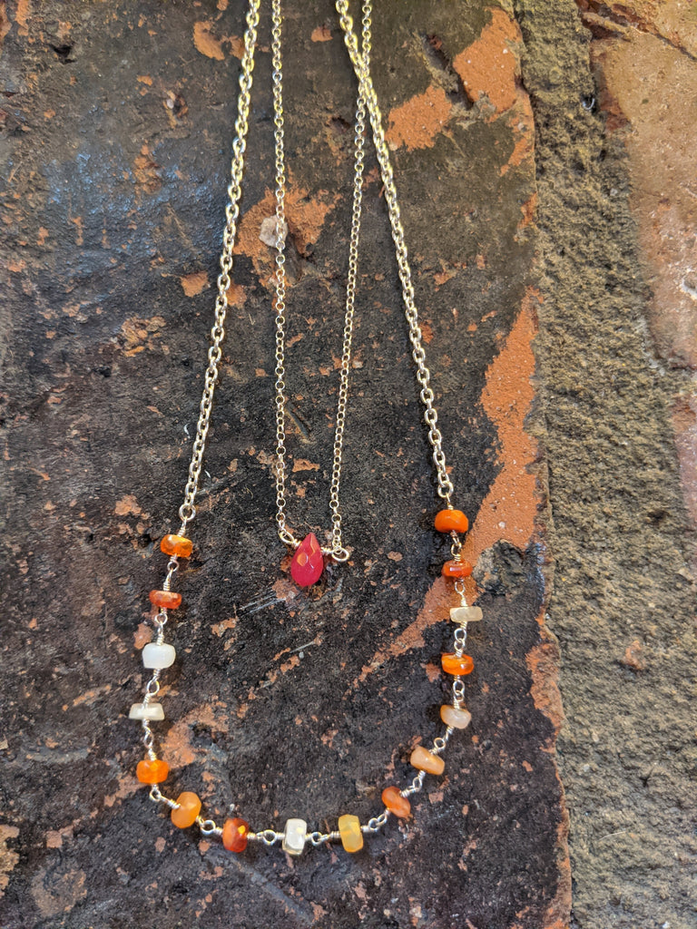 Mexican Fire Opal and Sterling Short Necklaces