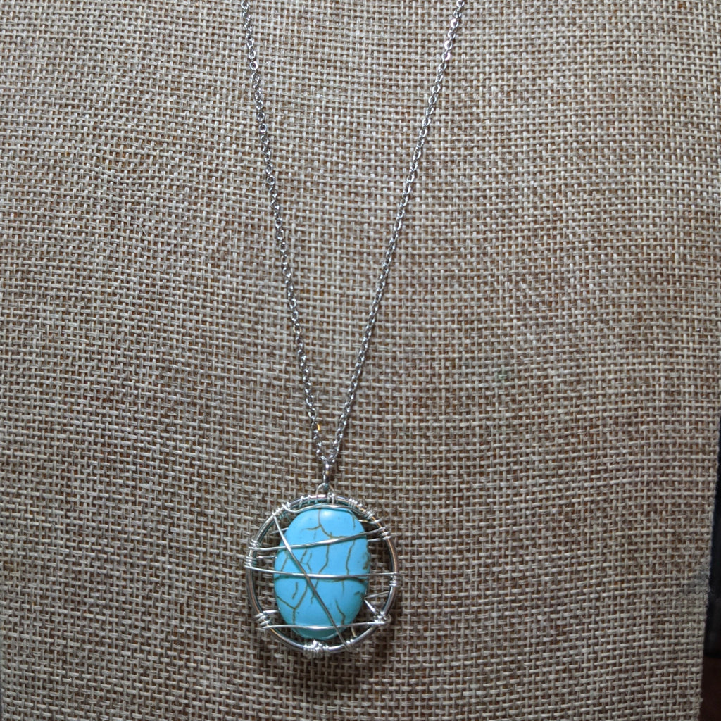Wirewrapped Turquoise Howlite Pendant on Stainless Steel Necklace
