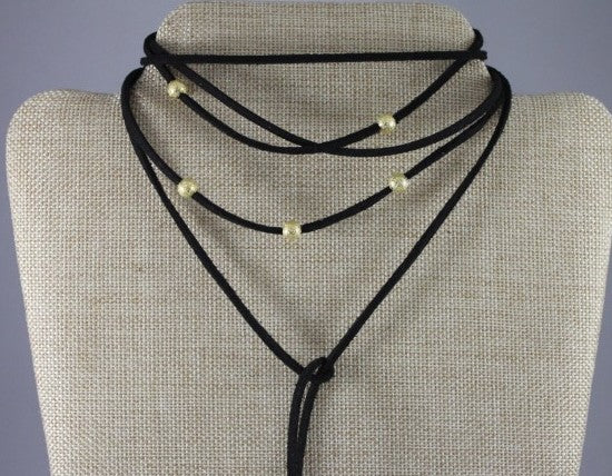 Vegan Leather Gold Beaded Choker