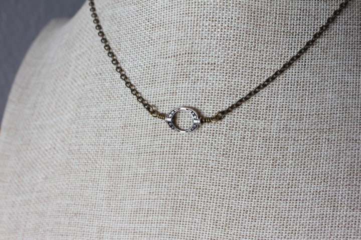 Small Circle Pendant on Brass Chain
