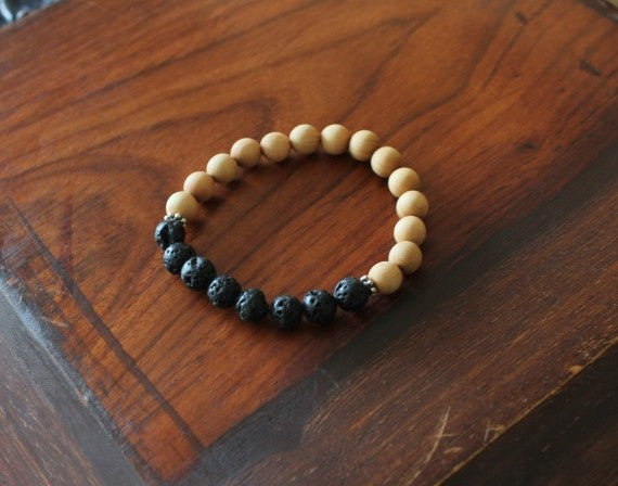 Unisex Wood and Lava rock Bracelet