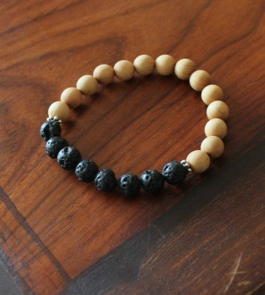 Wood and Lava Rock Bracelet