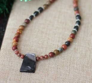 Picasso Jasper and Onyx Necklace with Black Agate Pendant