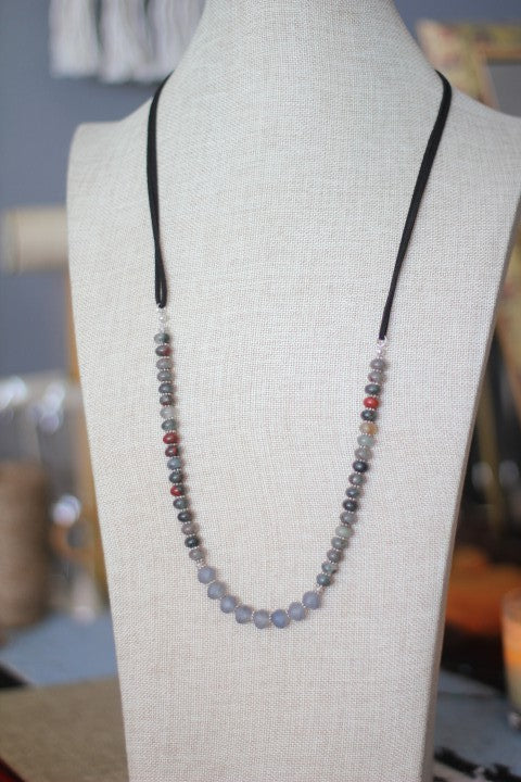 African Jasper Bloodstone, Dark Grey Crystals & Vegan Leather Necklace