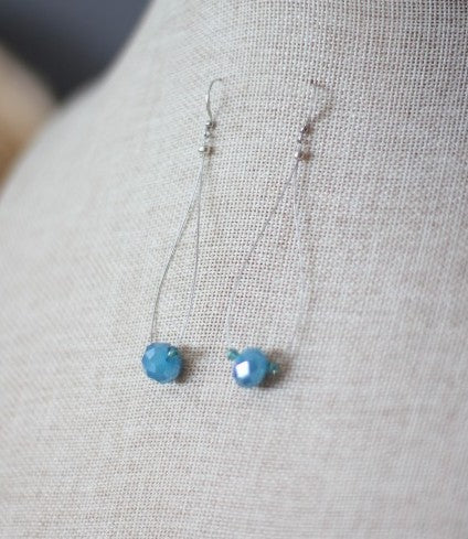Blue Crystal and Silver Earrings