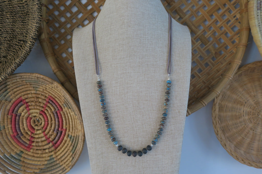 Blue Crazy Lace Agate & Vegan Leather Necklace