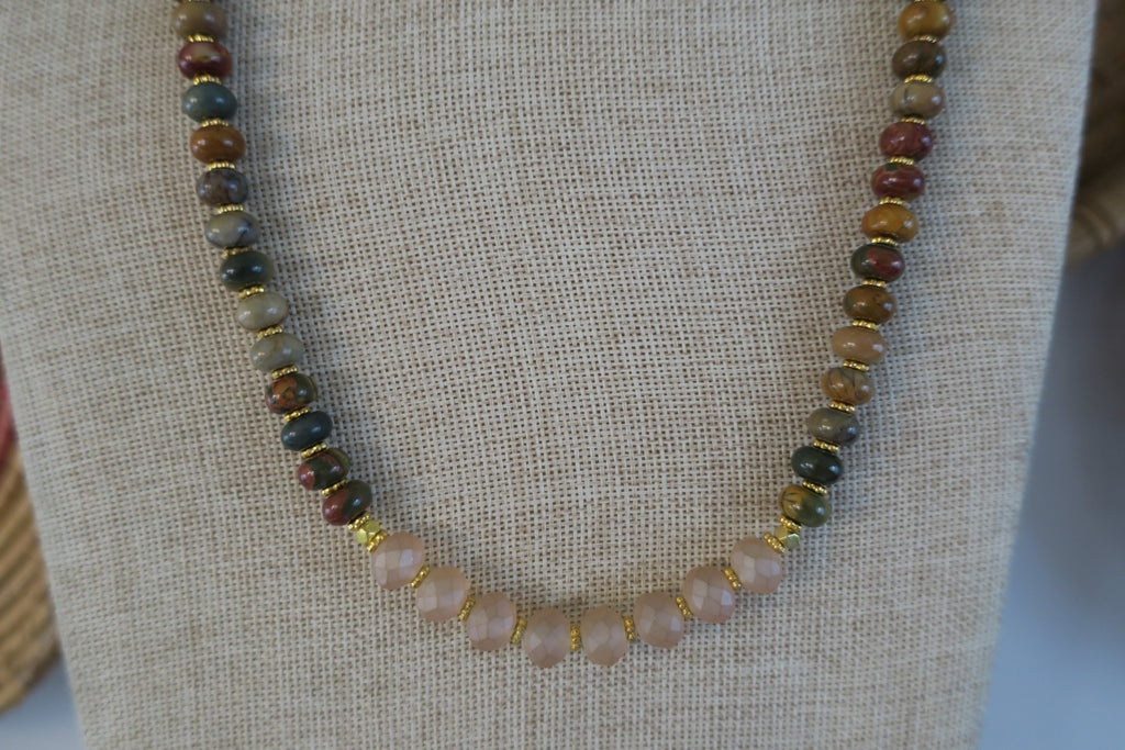 Picasso Jasper & Vegan Leather Necklace