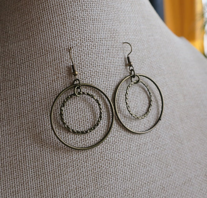 Brass Ring Orbit Earrings