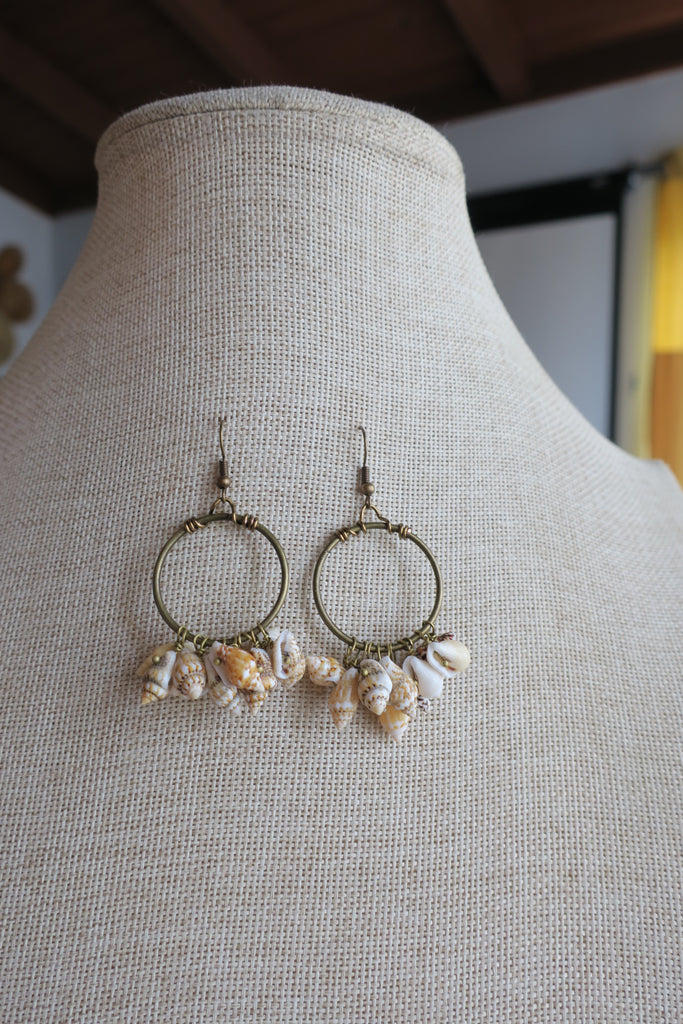 Large Seashell Brass Loop Earrings
