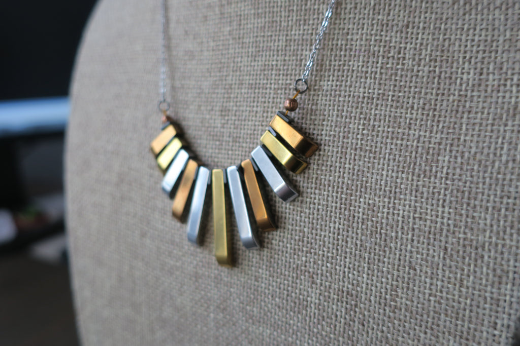 Multi-Color Hematite Statement Necklace on Silver