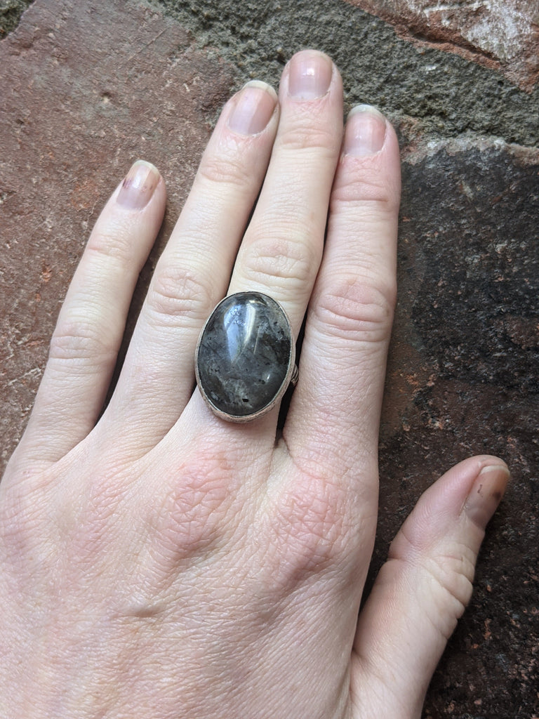 Larvikite Labradorite Oval Ring (Size 7 + 8 and MTO)