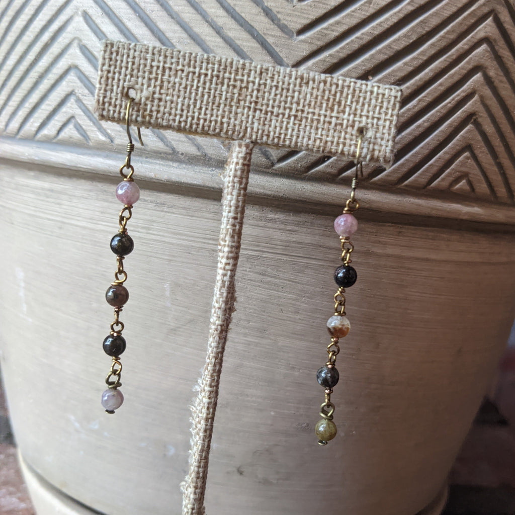 Watermelon Tourmaline Wirewrapped Drop Earrings