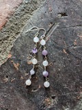 Rose Quartz and Amethyst Wirewrapped Drop Earrings