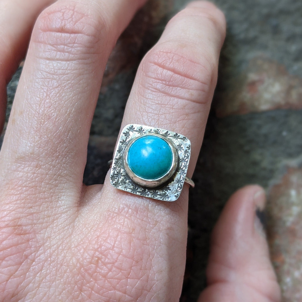Dark Turquoise Handstamped Sterling Silver Ring - Various Sizes Available