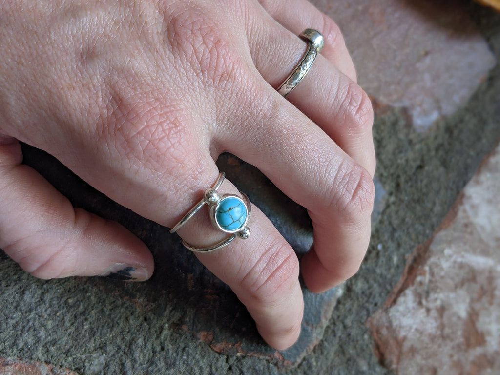 Deep Sea Turquoise Howlite Sterling Silver Ring - (Various Sizes Available)